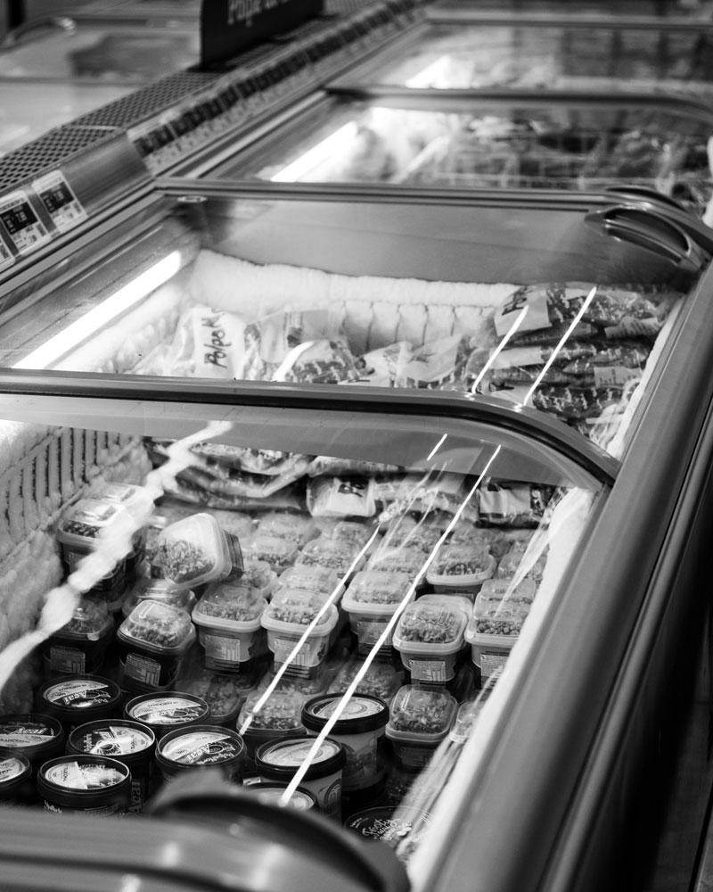 refrigerated cold storage in supermarket
